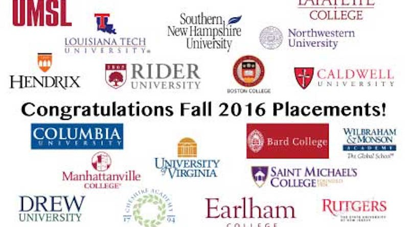 Congratulations Fall 2016 Academic Placements!