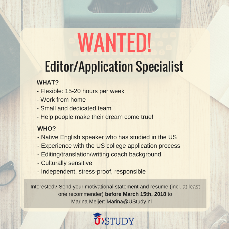 UStudy Vacancy: Editor/Application Specialist